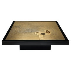 Jean Claude Dresse Etched Brass Inlayed with Agate Coffee Table