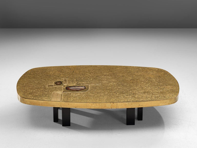 Jean Claude Dresse, coffee table, brass, agate and steel, Belgium, 1970s  A luxurious piece crafted with high attention for detail which is characteristic for the work of the Belgian artist Jean Claude Dresse. The combination of materials, steel,