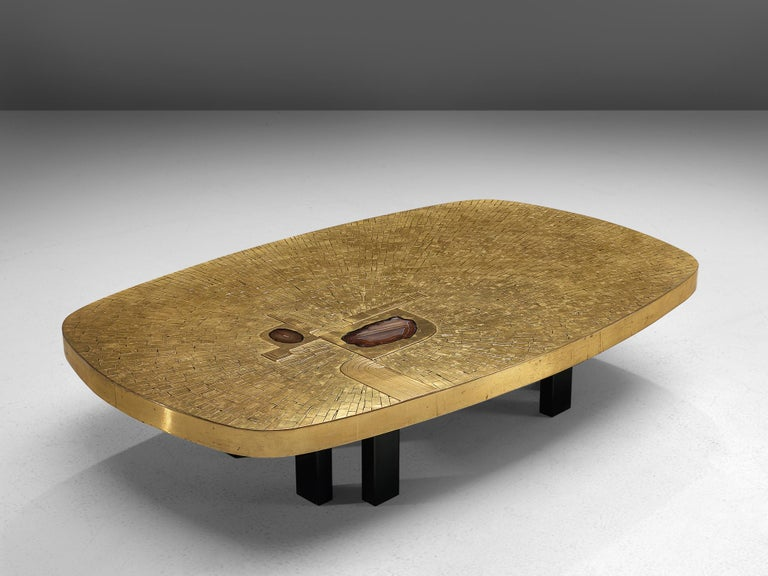 Mid-Century Modern Jean Claude Dresse Luxurious Coffee Table in a Mosaic of Brass For Sale
