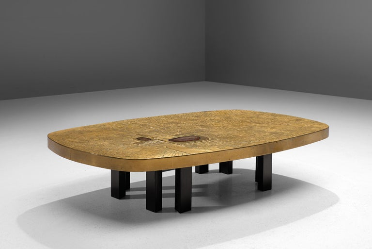 Belgian Jean Claude Dresse Luxurious Coffee Table in a Mosaic of Brass For Sale