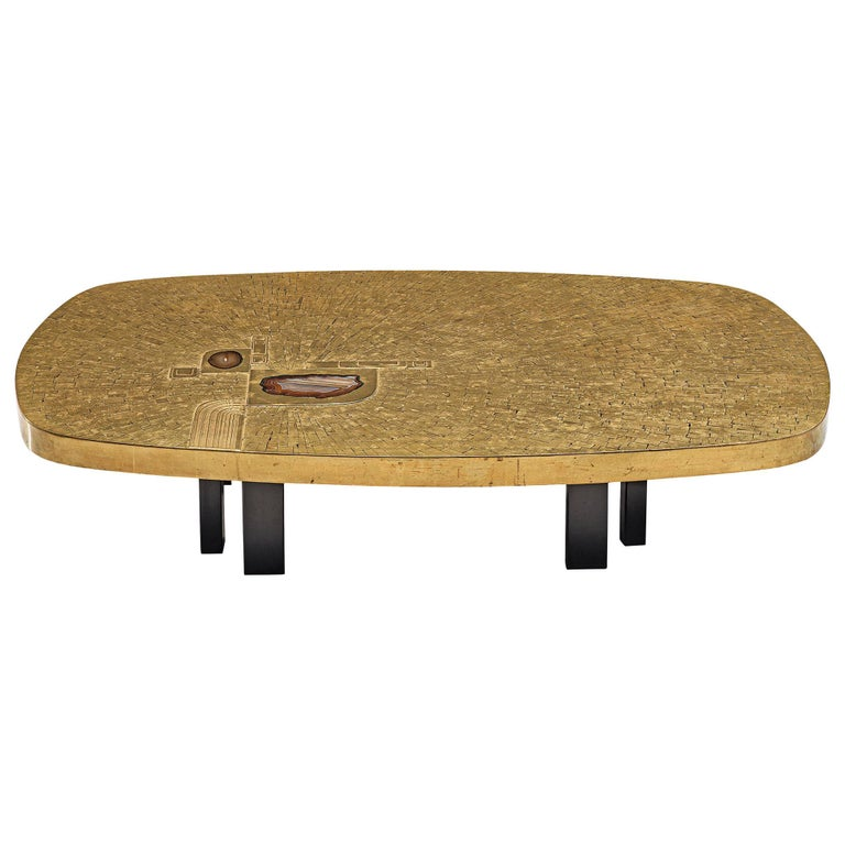 Jean Claude Dresse Luxurious Coffee Table in a Mosaic of Brass For Sale