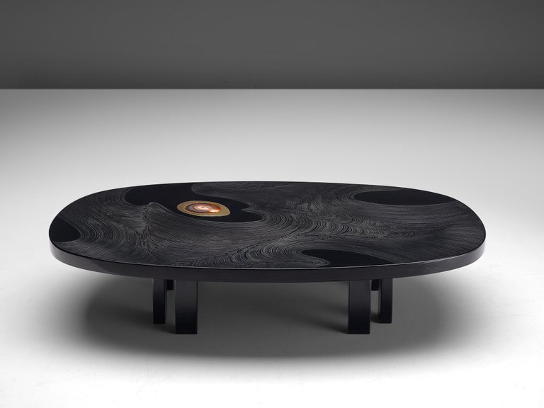 Mid-Century Modern Jean Claude Dresse Luxurious Coffee Table in Black Resin Inlaid with Agate For Sale