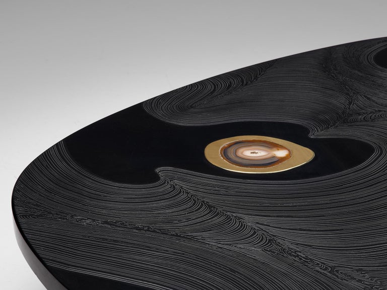 Belgian Jean Claude Dresse Luxurious Coffee Table in Black Resin Inlaid with Agate For Sale