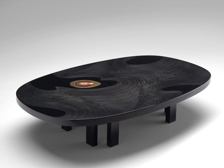 Late 20th Century Jean Claude Dresse Luxurious Coffee Table in Black Resin Inlaid with Agate For Sale
