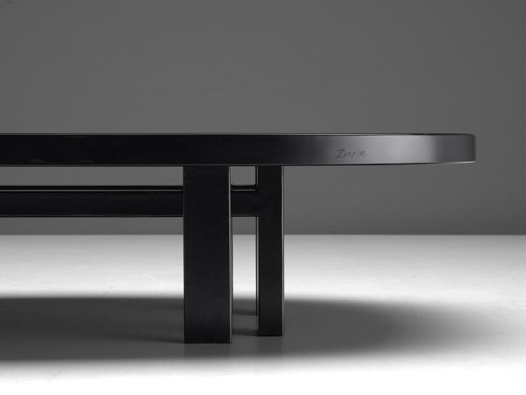 Metal Jean Claude Dresse Luxurious Coffee Table in Black Resin Inlaid with Agate For Sale
