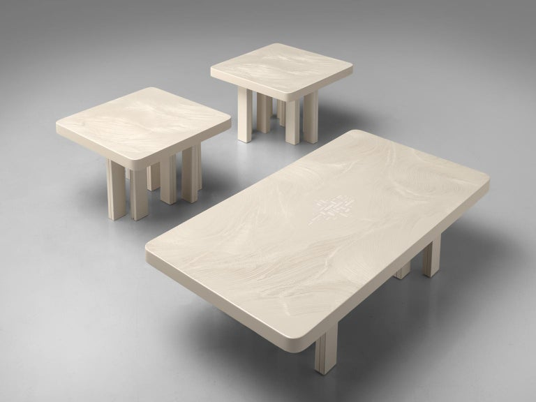 Jean Claude Dresse Pair of Resin Coffee Tables with Hand Drawn Pattern For Sale 3
