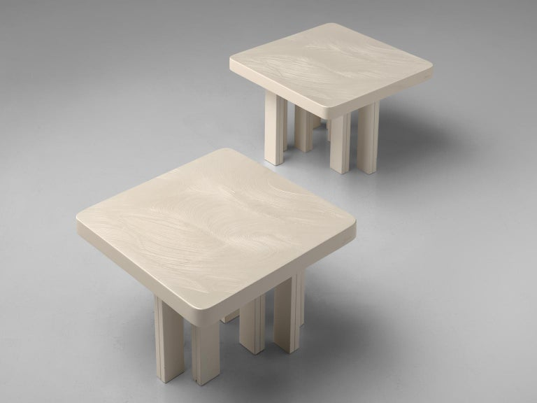 Belgian Jean Claude Dresse Pair of Resin Coffee Tables with Hand Drawn Pattern For Sale
