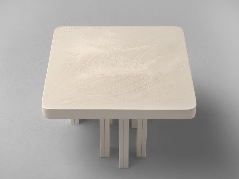 Late 20th Century Jean Claude Dresse Pair of Resin Coffee Tables with Hand Drawn Pattern For Sale