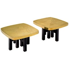 Jean Claude Dresse Pair of Side Tables in Brass