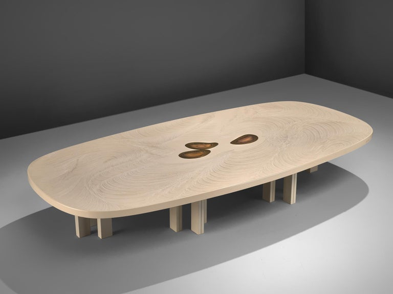Jean Claude Dresse, coffee table, resin, steel and agate, Belgium, 1970s  This luxurious and artistic resin coffee table is a design by the hand of Belgian designer Jean Claude Dresse. The table consists of a resin tabletop, resting on metal feet.