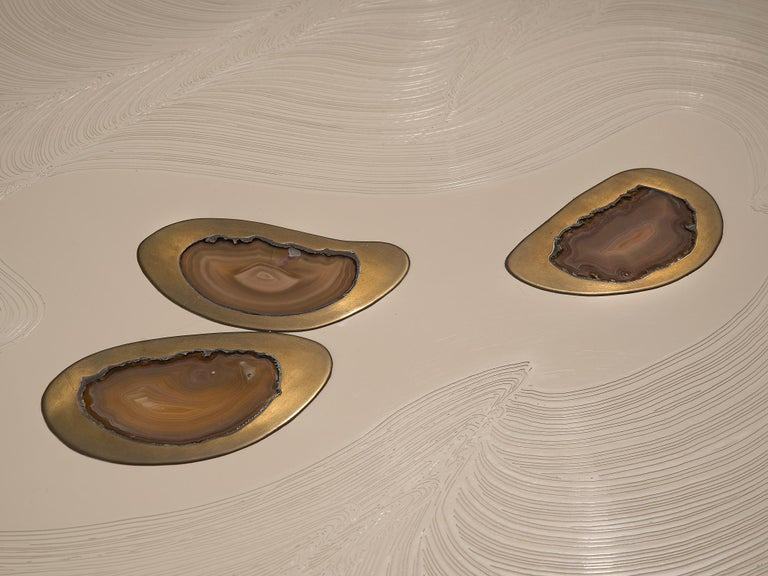 Late 20th Century Jean Claude Dresse Resin Coffee Table Inlayed with Agate For Sale