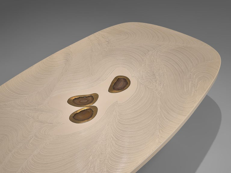 Steel Jean Claude Dresse Resin Coffee Table Inlayed with Agate For Sale