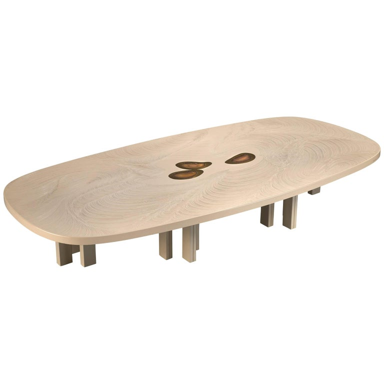 Jean Claude Dresse Resin Coffee Table Inlayed with Agate For Sale