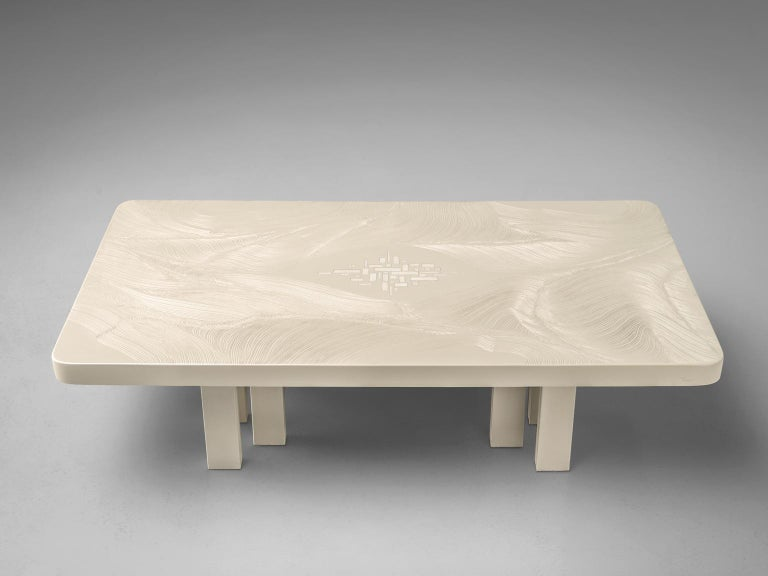 Jean Claude dresse, coffee table, resin, steel and bone, Belgium, 1970s.  This stunning resin coffee table is a design by the hand of Belgian designer Jean Claude Dresse. This coffee table is made out of a resin table top, resting on lacquered