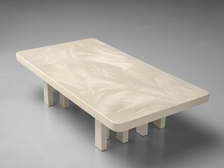 Mid-Century Modern Jean Claude Dresse Resin Coffee Table with Inlayed Bone For Sale