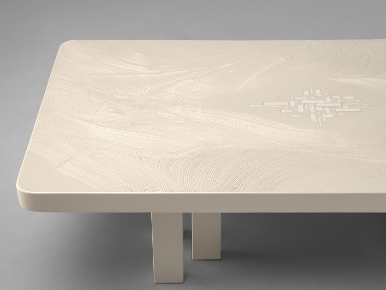 Belgian Jean Claude Dresse Resin Coffee Table with Inlayed Bone For Sale