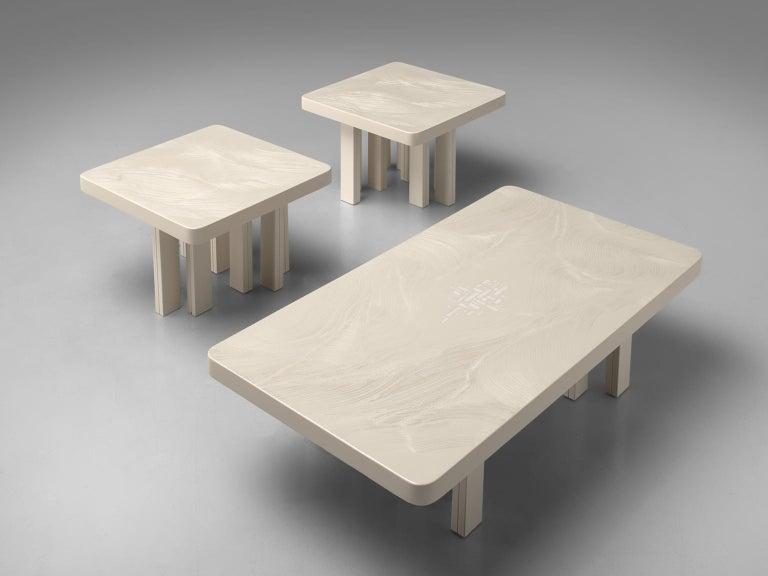Jean Claude Dresse Resin Coffee Table with Inlayed Bone For Sale 1