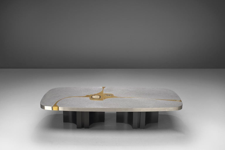 Mid-Century Modern Jean Claude Dresse Steel and Brass Coffee Table with Inlayed Agate For Sale
