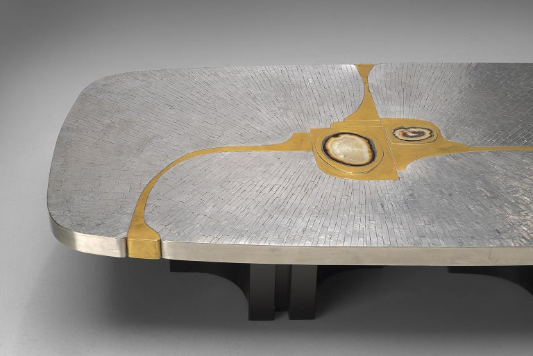 Belgian Jean Claude Dresse Steel and Brass Coffee Table with Inlayed Agate For Sale