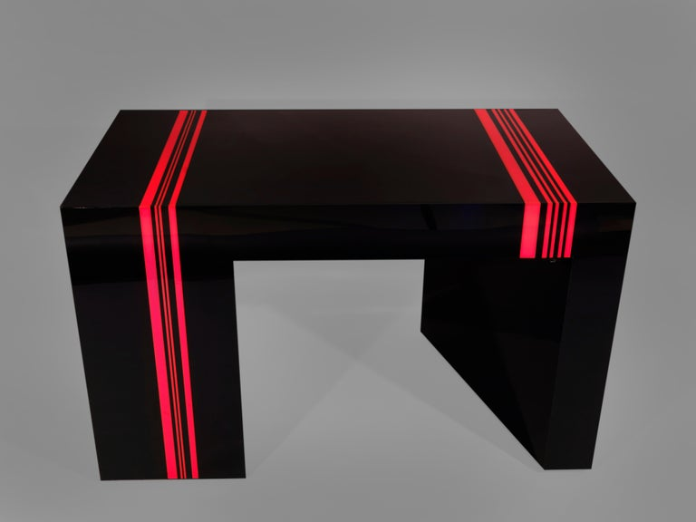 Backgamon, checkers and chess table in black, red and white methacrylate,