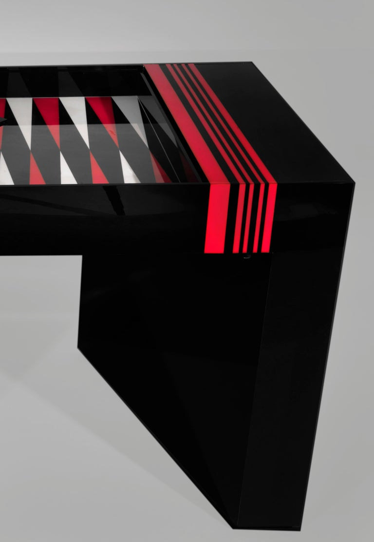 French Jean-Claude Farhi Methacrylate Game Table, Unique Piece For Sale