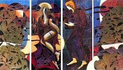 """La Rencontre"", Jean-Claude Gaugy, Oil on Board, 80x144 in, Contemporary, Figure"