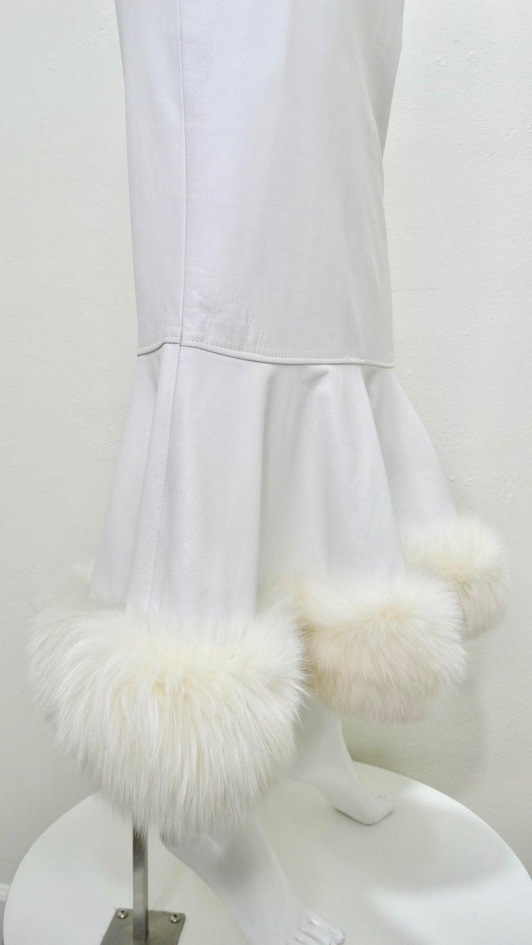 Gray Jean-Claude Jitrois Couture Leather Fur Trim Skirt  For Sale