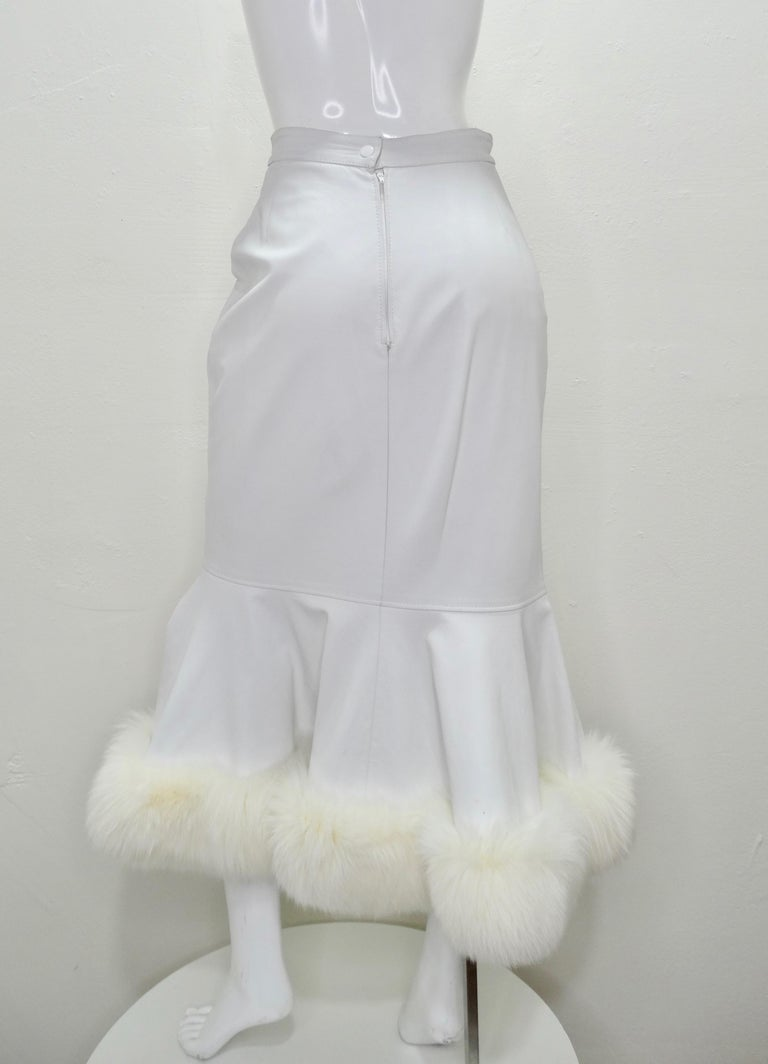 Jean-Claude Jitrois Couture Leather Fur Trim Skirt  In Good Condition For Sale In Scottsdale, AZ