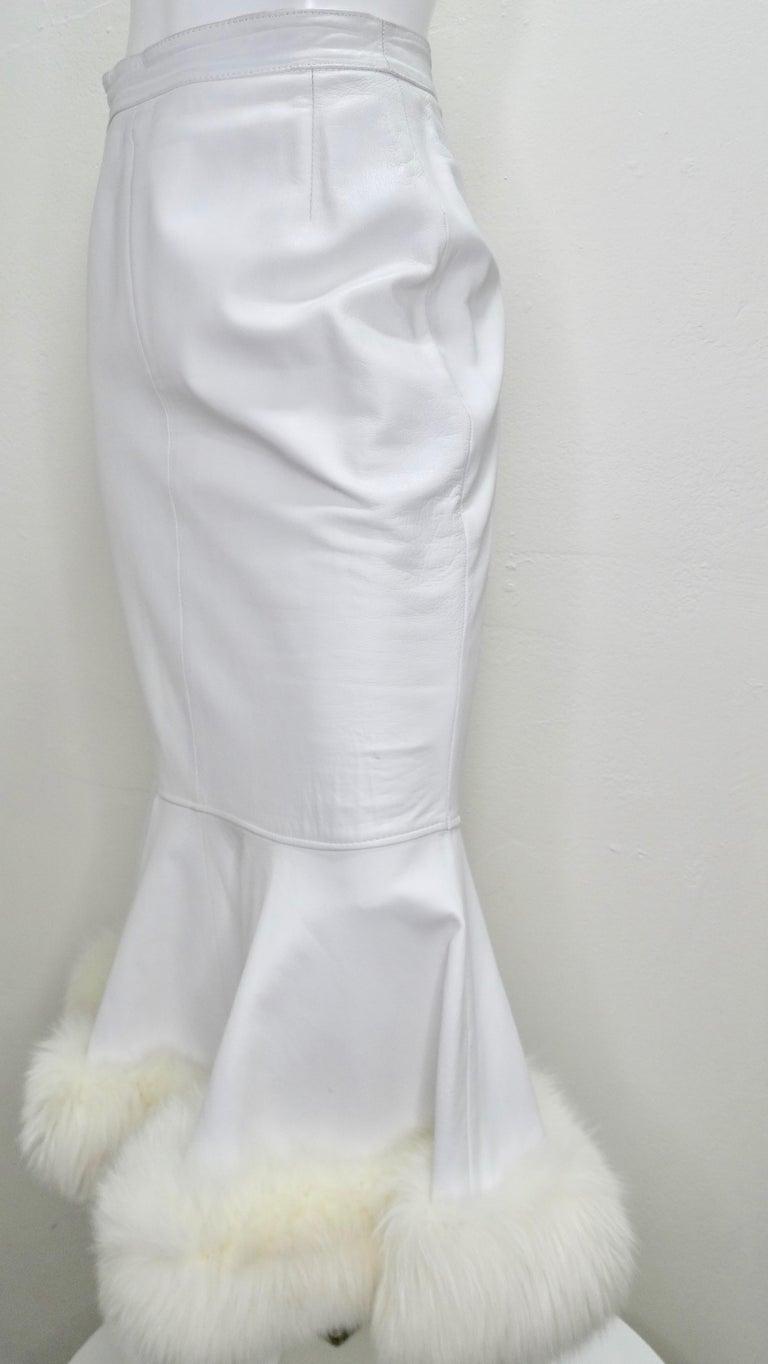 Women's or Men's Jean-Claude Jitrois Couture Leather Fur Trim Skirt  For Sale
