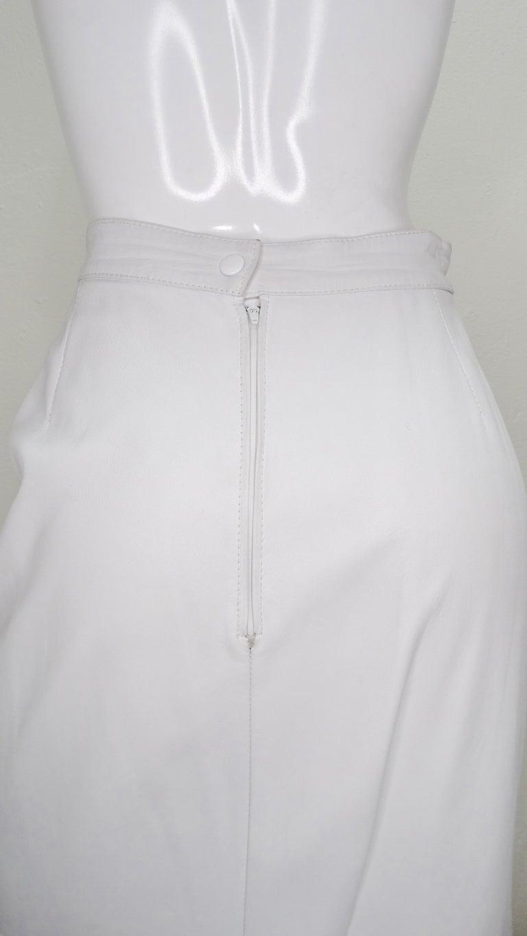 Jean-Claude Jitrois Couture Leather Fur Trim Skirt  For Sale 1