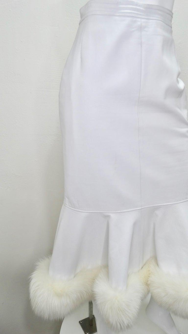 Jean-Claude Jitrois Couture Leather Fur Trim Skirt  For Sale 4