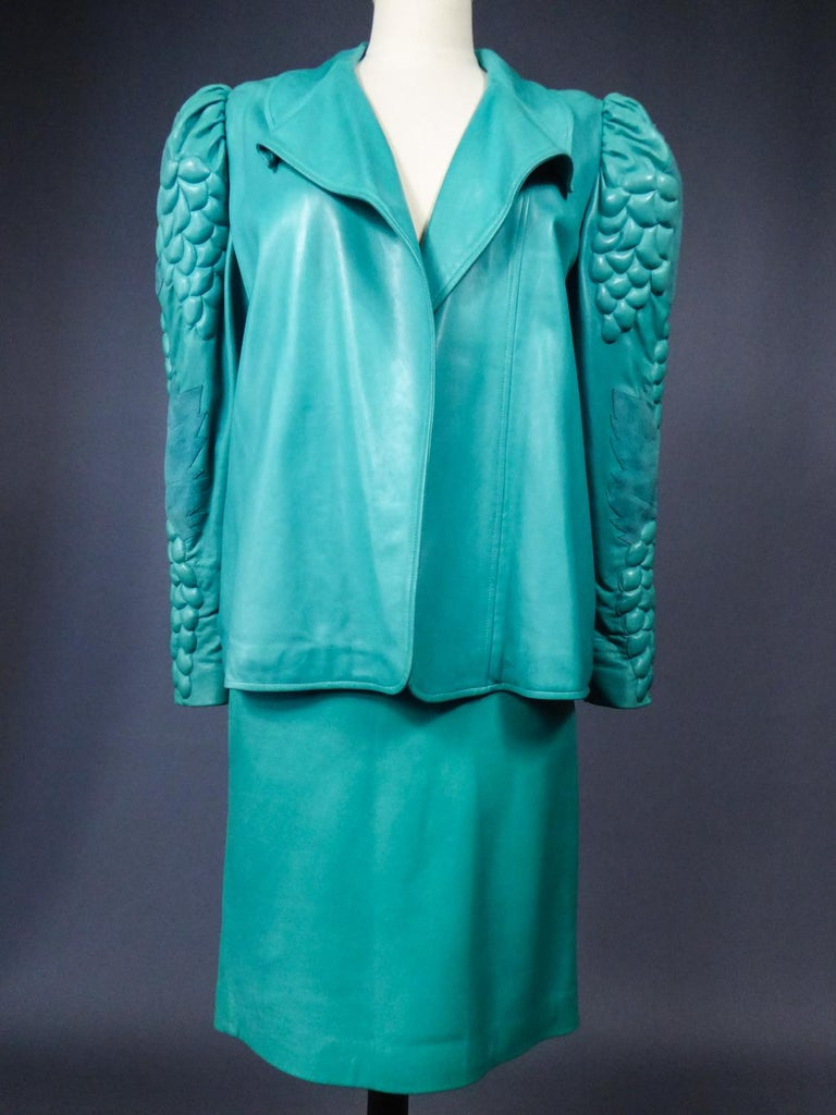 Jean Claude Jitrois Skirt And Jacket In Turquoise Leather