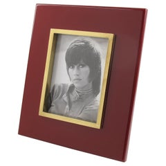 Jean Claude Mahey 1970s Oxblood Lacquer and Polished Brass Picture Photo Frame