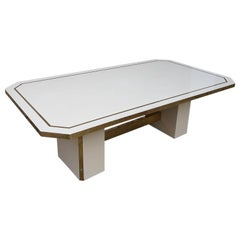 Jean Claude Mahey Big Dining Table Ivory Lacquer Brass, 1980, France