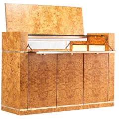 Jean-Claude Mahey, Burl Wood and Brass Dry Bar for Roche Bobois, 1978