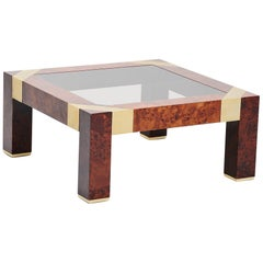 Jean Claude Mahey Burl Wood Coffee Table, France, 1970