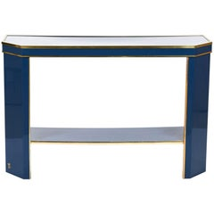 Jean Claude Mahey Console Blue Lacquer and Brass, 1970