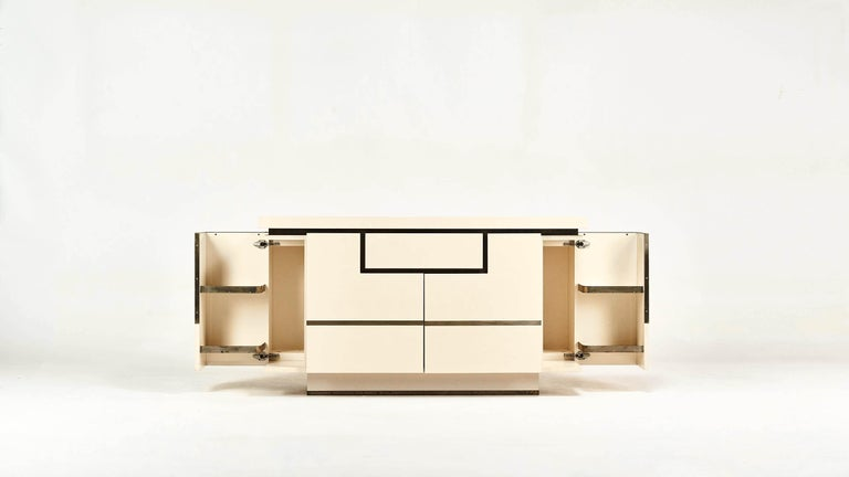 Hollywood Regency Jean-Claude Mahey, Lacquered Sideboard for Roche Bobois, circa 1970 For Sale