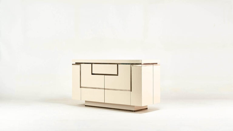 Brass Jean-Claude Mahey, Lacquered Sideboard for Roche Bobois, circa 1970 For Sale