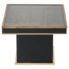 Jean Claude Mahey Laminate and Brass Side Table, France 1980's