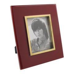 Jean Claude Mahey Oxblood Lacquer and Brass Picture Frame