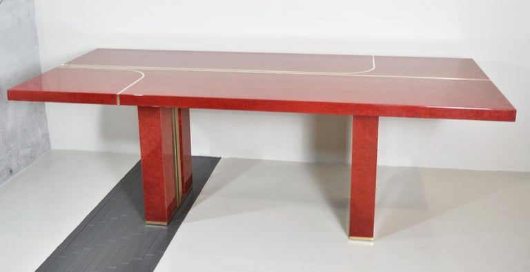 Midcentury Jean Claude Mahey Red Lacquered Wood and Brass French Table, 1980s For Sale 5