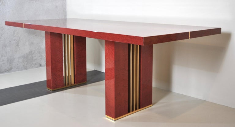 Midcentury Jean Claude Mahey Red Lacquered Wood and Brass French Table, 1980s For Sale 6