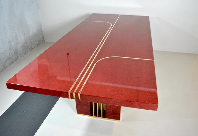 Midcentury Jean Claude Mahey Red Lacquered Wood and Brass French Table, 1980s For Sale 7