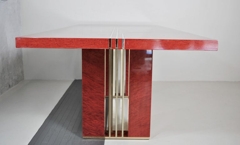 Midcentury Jean Claude Mahey Red Lacquered Wood and Brass French Table, 1980s For Sale 8