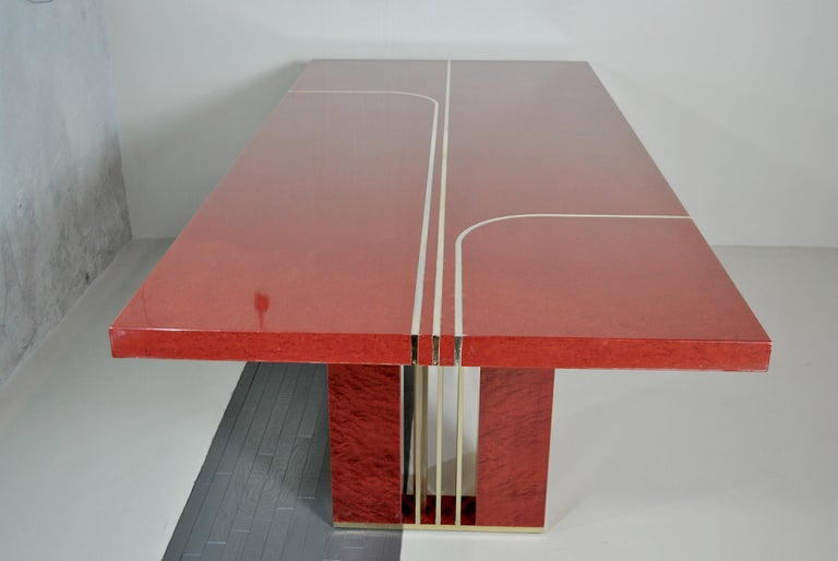 Midcentury Jean Claude Mahey Red Lacquered Wood and Brass French Table, 1980s For Sale 9