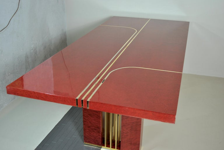 Midcentury Jean Claude Mahey Red Lacquered Wood and Brass French Table, 1980s For Sale 10