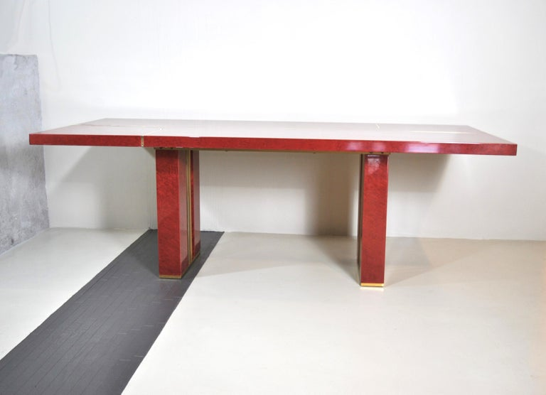 Red lacquered table of mid-980s by Jean Claude Mahey in very good condition.