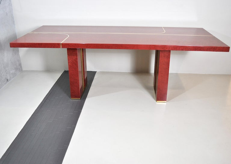 Mid-Century Modern Midcentury Jean Claude Mahey Red Lacquered Wood and Brass French Table, 1980s For Sale