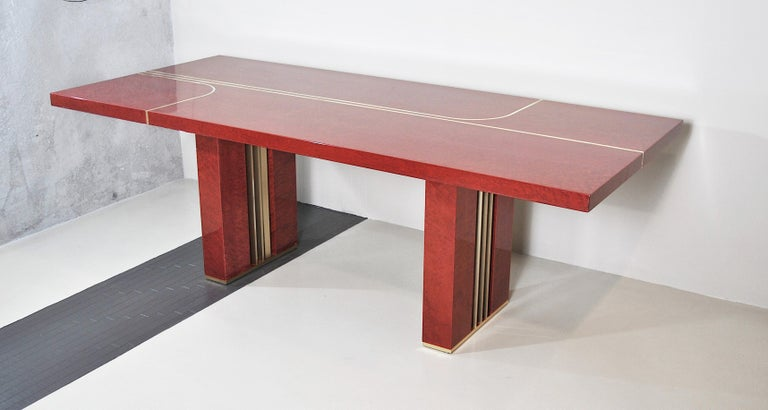 Midcentury Jean Claude Mahey Red Lacquered Wood and Brass French Table, 1980s In Good Condition For Sale In bari, IT